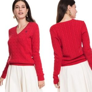 NWOT Ralph Lauren Sport Red Cable Sweater V Neck M